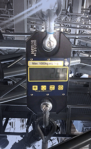 straightpoint loadlink plus digital dynamometer in theatre rigging