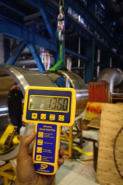 The fabrication cylinder was recorded at 1360kg